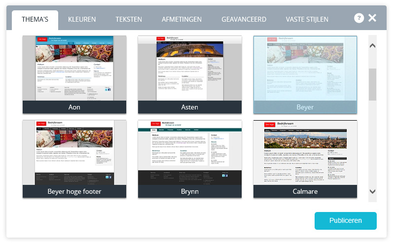 Website thema's.